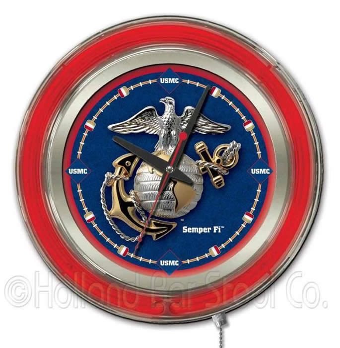 Military Logo Double Ring Neon Clocks