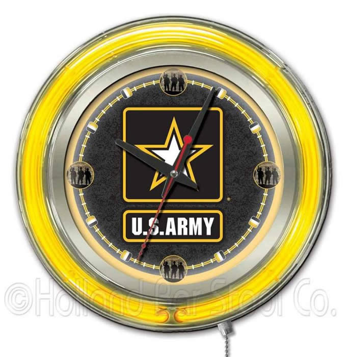 United States Army Logo Neon Wall Clock