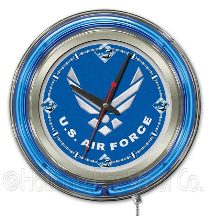 United States Air Force Logo Neon Wall Clock